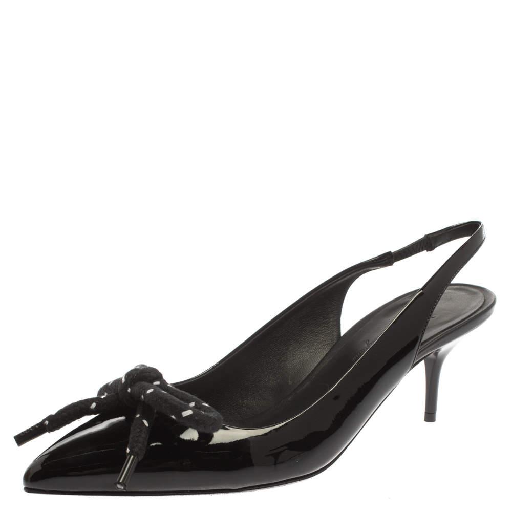 Burberry Black Patent Leather Fink Slingback Sandals Size 37