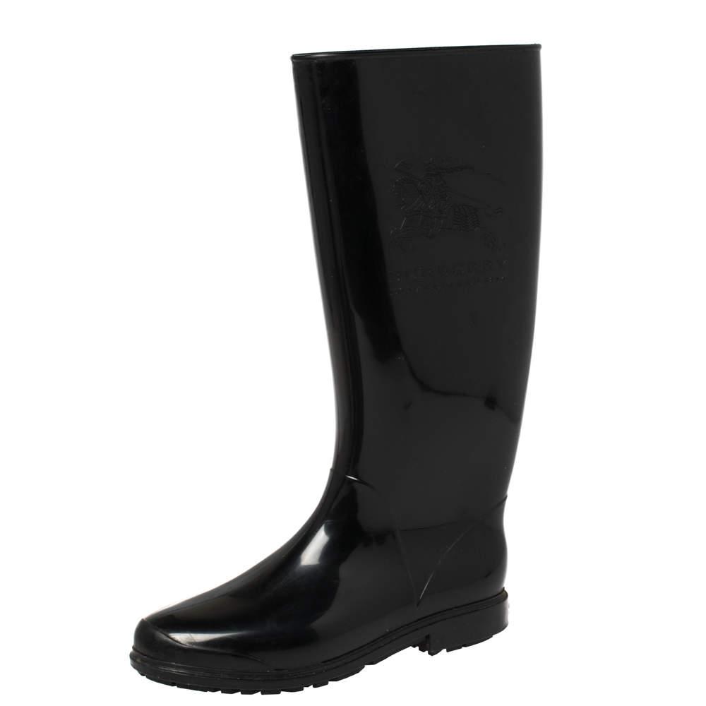 Burberry Black Rubber Knight Rain Boots Size 36