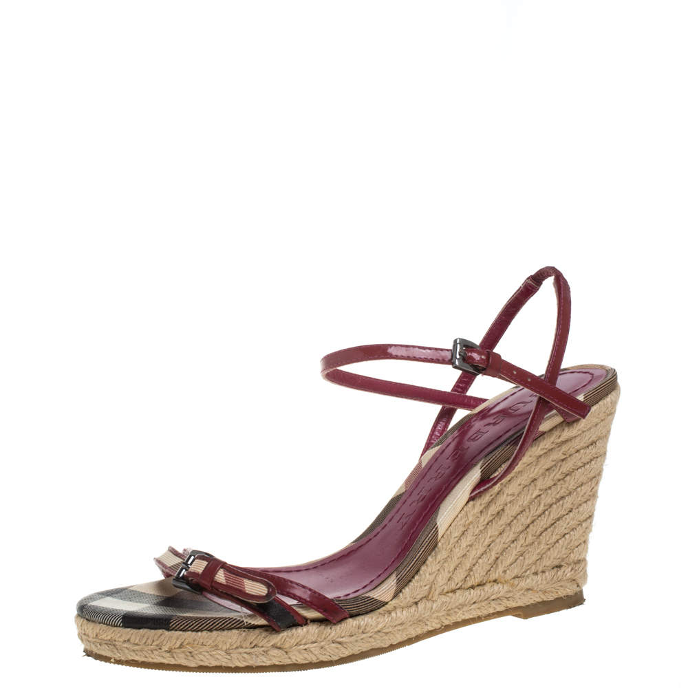 Burberry Pink Patent Leather And Nova Check Canvas Ankle Strap Espadrille Wedge Sandals Size 37