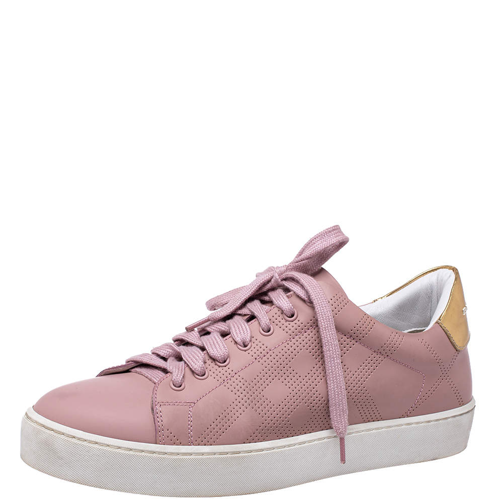 Burberry Pink Perforated Leather Westford Low Top Sneakers Size 38.5