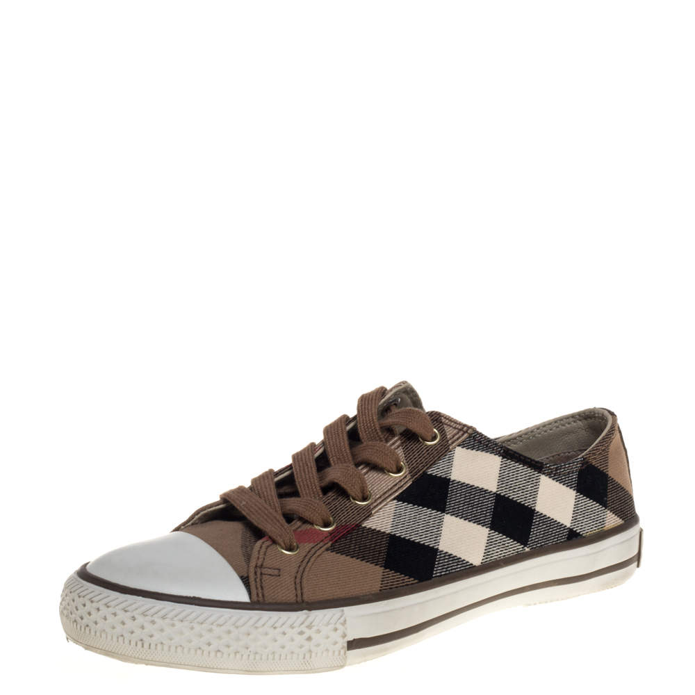 Burberry Brown Novacheck Canvas Lace Up Sneakers Size 39