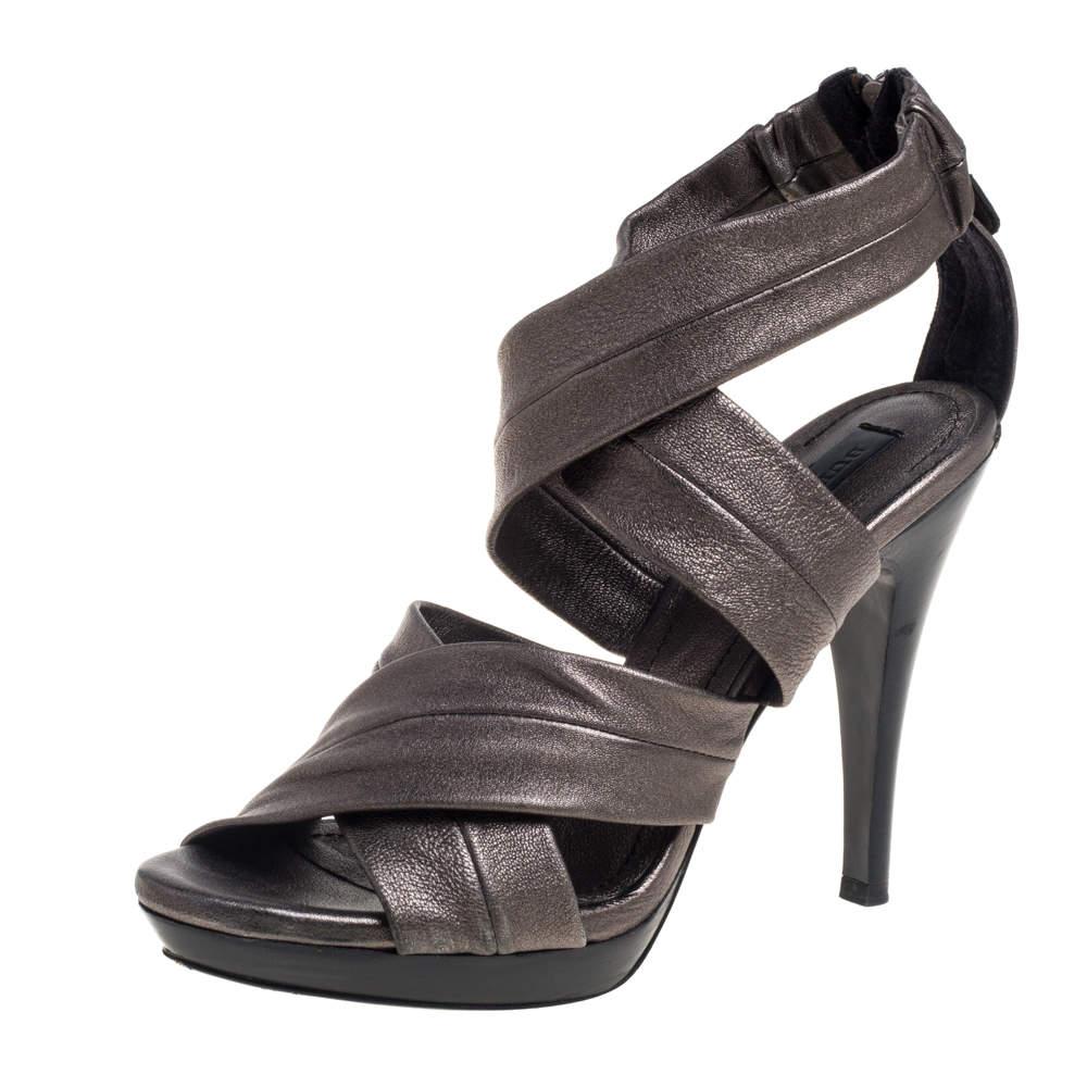 Burberry Metallic Grey Leather Back Zip Platform Sandals Size 39