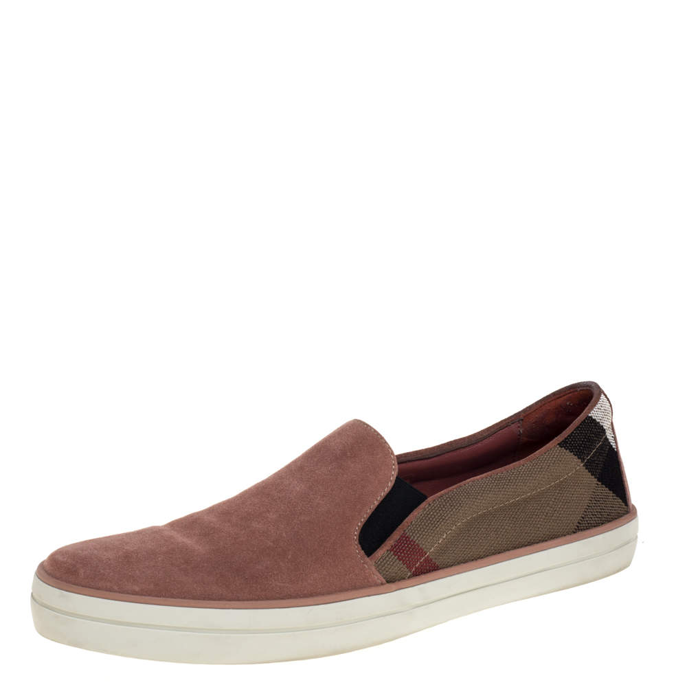 Burberry Multicolor Suede And Canvas Gauden Slip On Sneakers Size 40