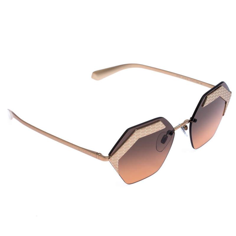 Bvlgari Bronze/Black Gradient 6103 Serpenteyes Geometric Sunglasses