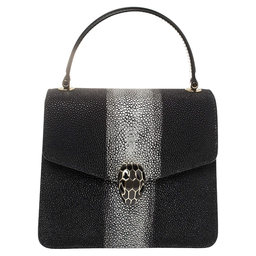 Bvlgari Black/Silver Stingray and Leather Serpenti Forever Top Handle Bag