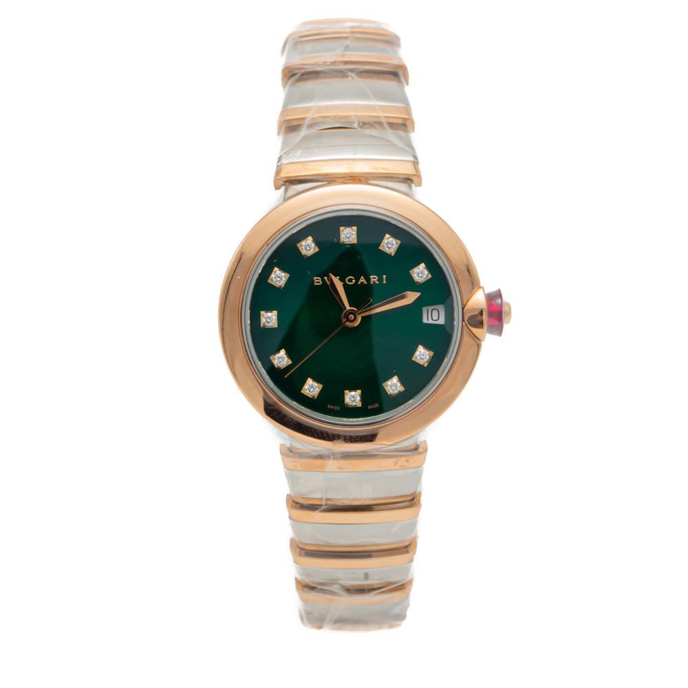 ساعة يد نسائية بلغاري Lvcea  ذهب وردي وستيل مينا ألماس خضراء 33مم