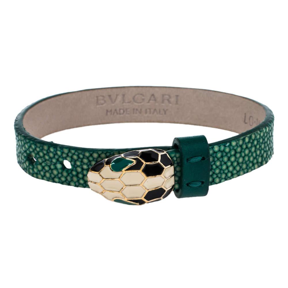 Bvlgari Serpenti Forever Enamel Green Galuchat Leather Gold Plated Bracelet