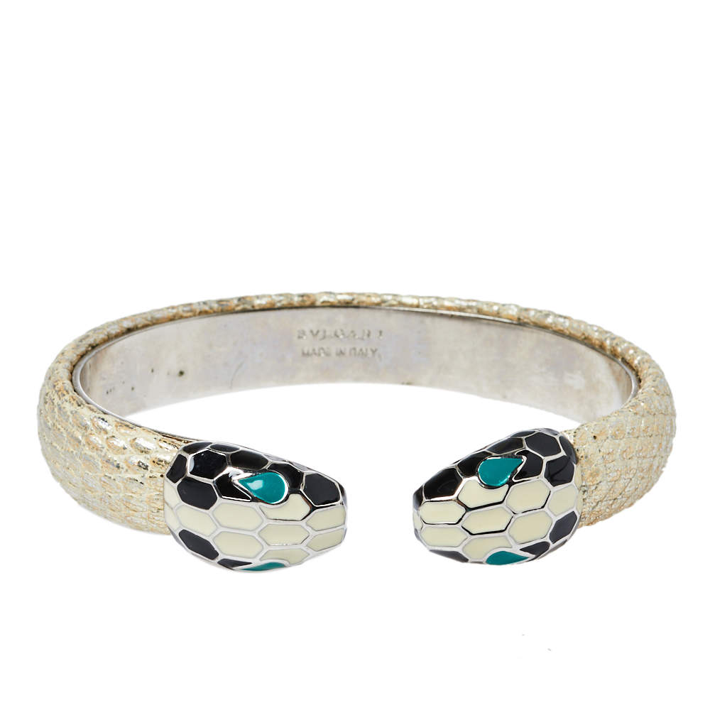 Bvlgari Serpenti Forever Metallic Leather Open Cuff Bracelet