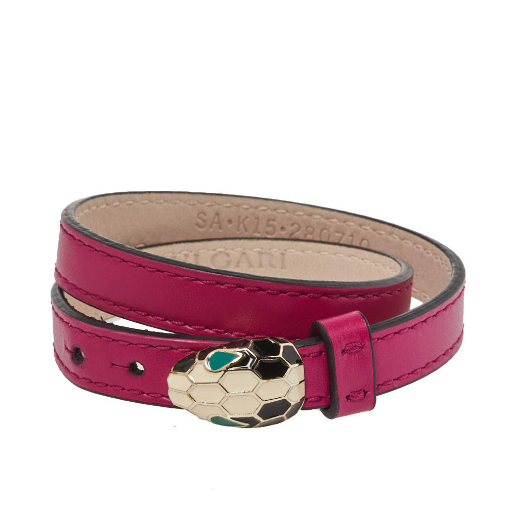 Bvlgari Serpenti Forever Pink Leather Enamel Double Coiled Bracelet