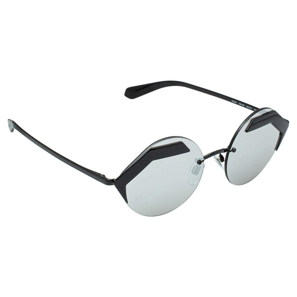Bvlgari Matte Black /Grey 6089 Serpenteyes Round sunglasses