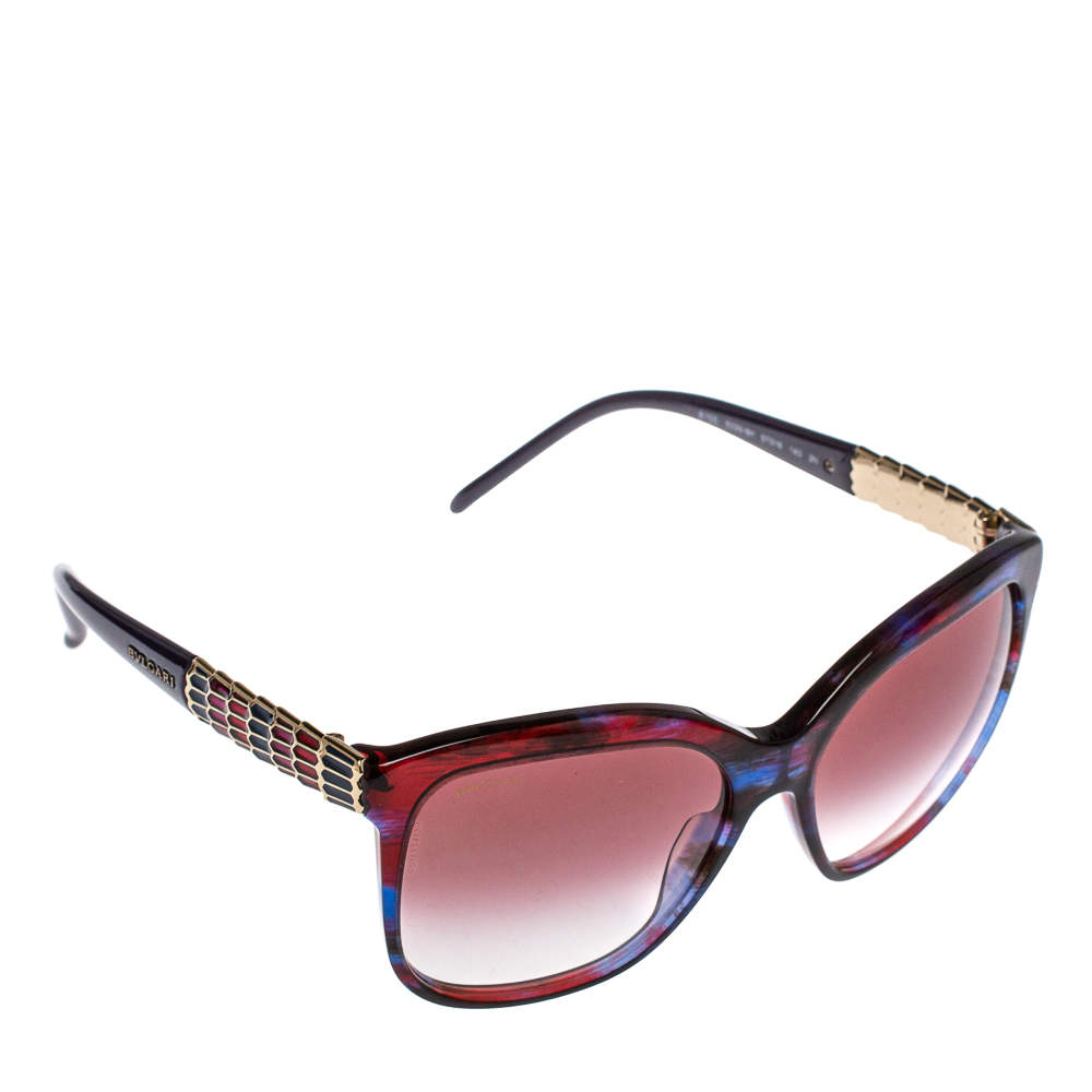 Bvlgari Blue Red 8155 Fantasy Gradient Square Sunglasses