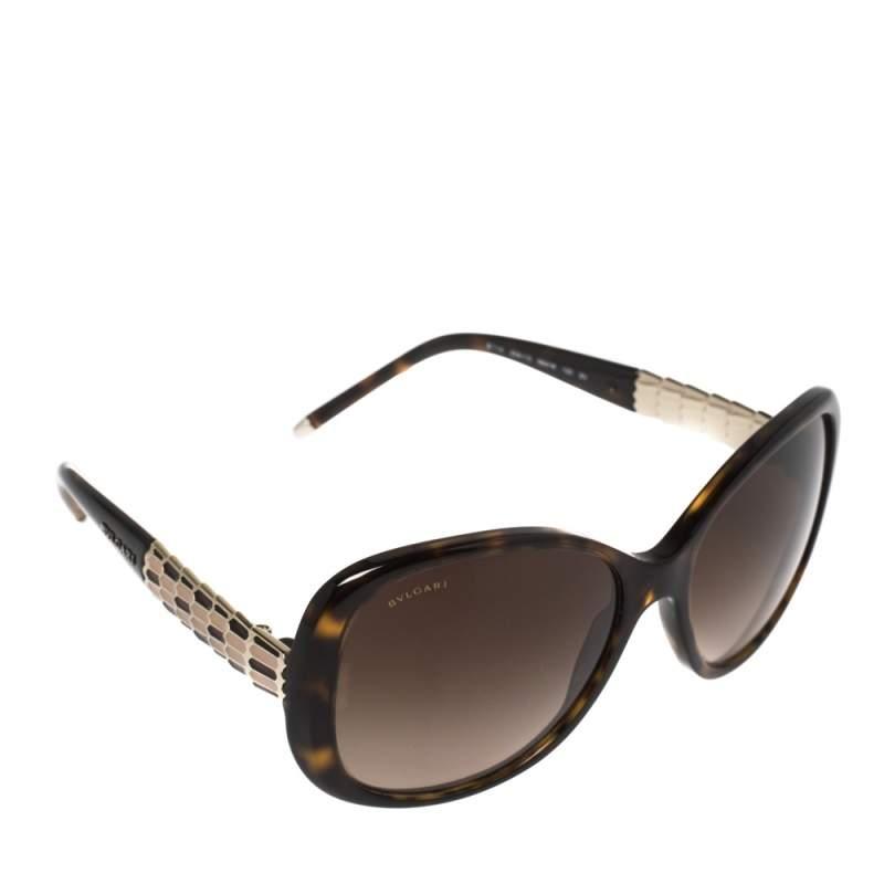 Bvlgari Dark Havana/ Brown Gradient BV 8114 Serpenti Square Sunglasses