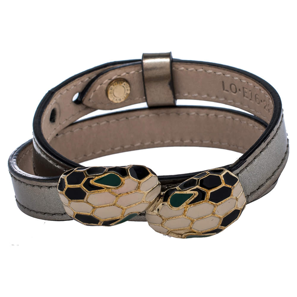 Bvlgari Serpenti Forever Metallic Silver Leather Gold Plated Double Wrap Bracelet