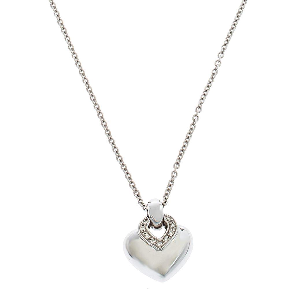 Bvlgari Doppio Cuore Diamond 18K White Gold Pendant Necklace