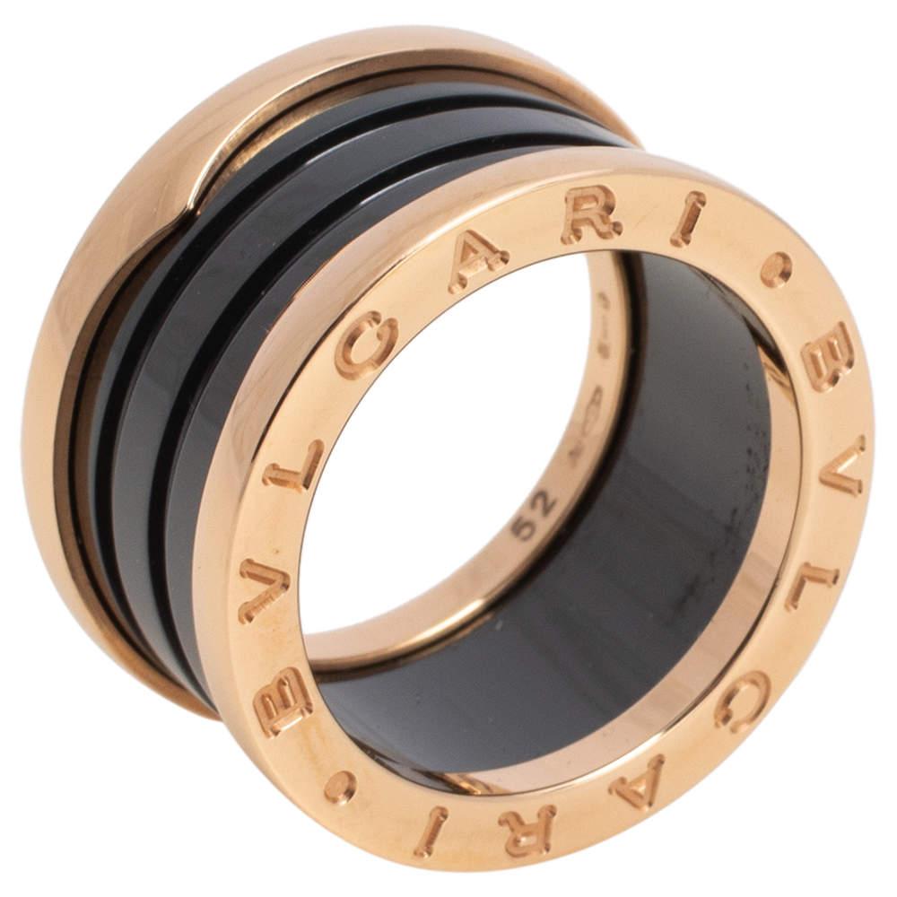 """خاتم بلغاري """"بي.زيرو1"""" حلقة ذهب وردي عيار 18 و 4 حلقات يراميك أسود مقاس 52"""