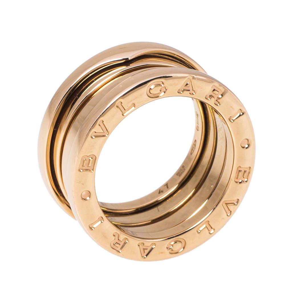 Bvlgari B.zero1 18K Rose Gold 3-Band Ring Size 47