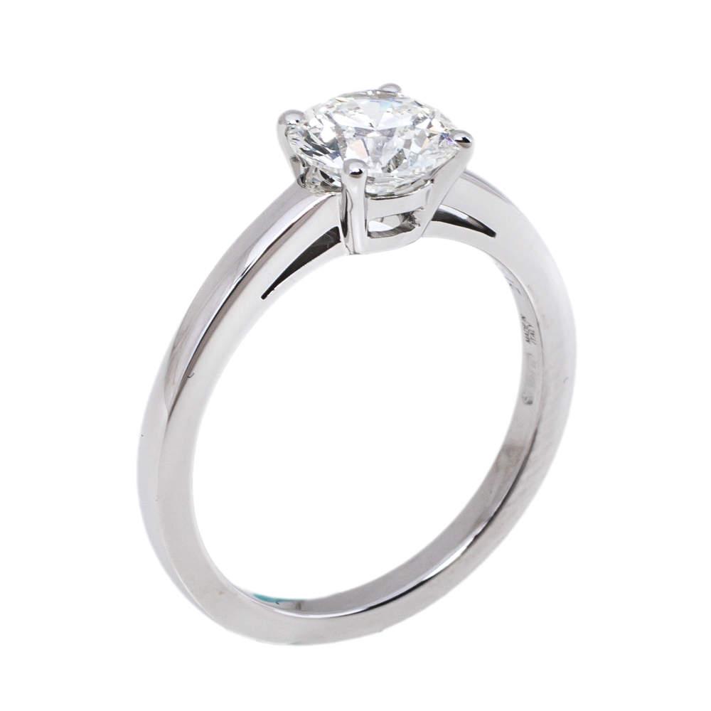 Bvlgari Griffe 1.13ct Solitaire Diamond Platinum Ring Size 52