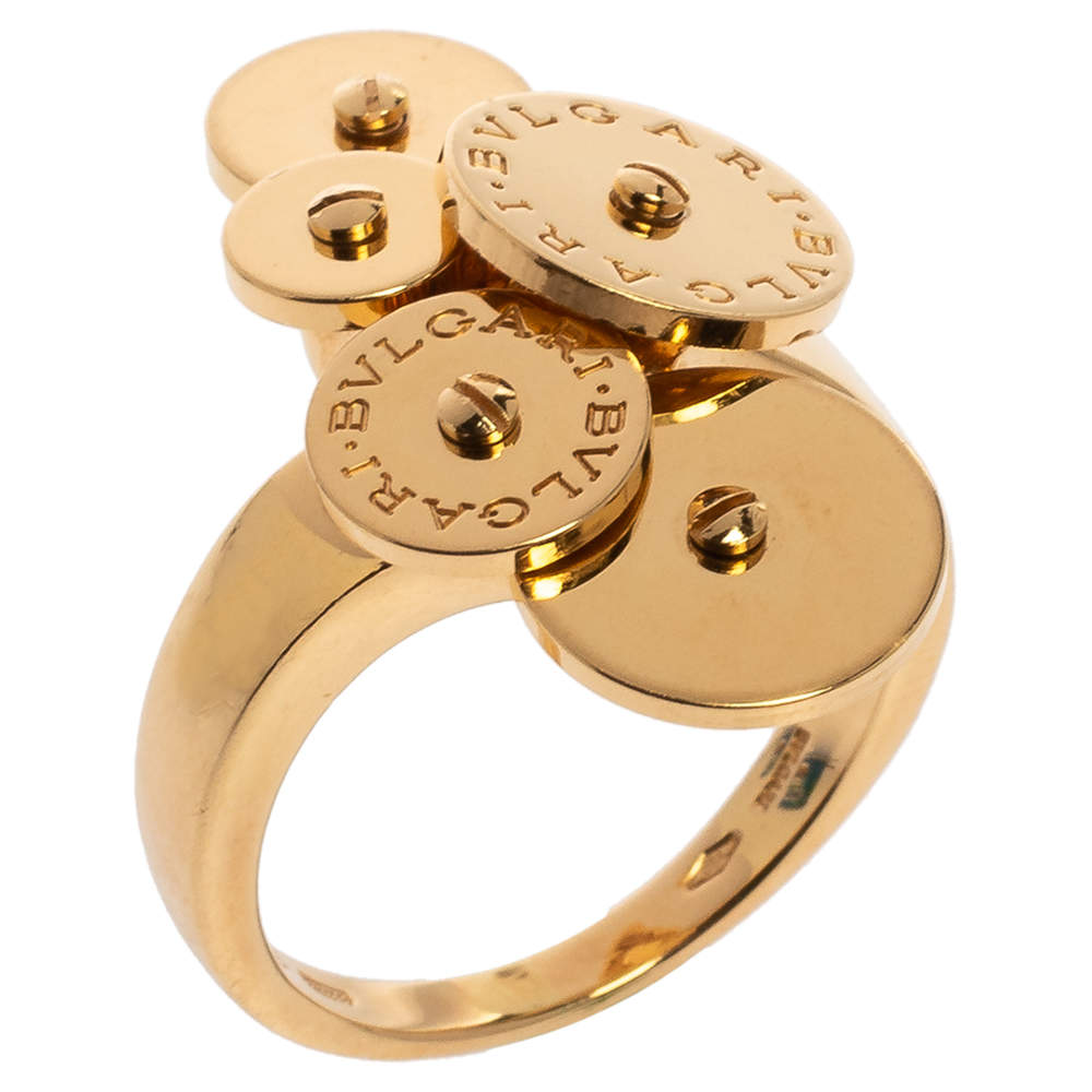 Bvlgari Cicladi Cluster Disc 18K Yellow Gold Cocktail Ring Size 52.5