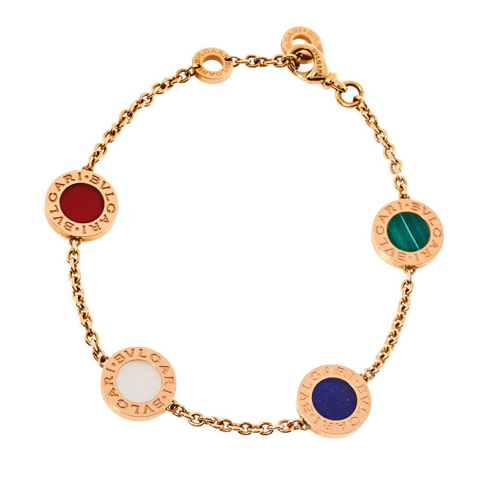 Bvlgari Multi Gemstone Inlay 18K Rose Gold Station Bracelet SM
