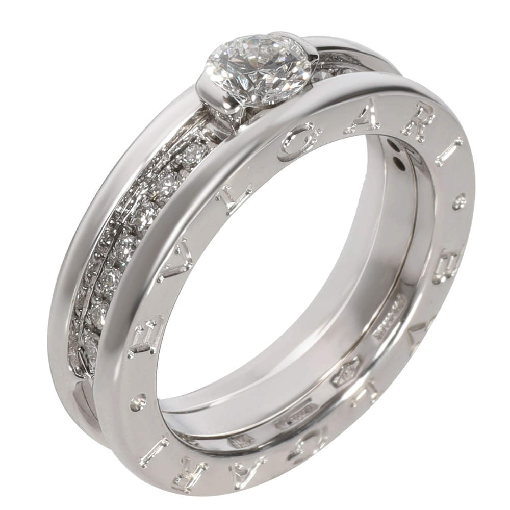Bvlgari B Zero1 Diamond Engagement  8K 2 Tone Gold Ring Size EU 52