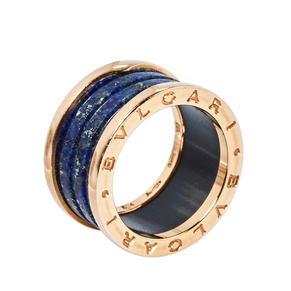 Bvlgari B.Zero1 Lapis Lazuli 18K Rose Gold Three Band Ring Size 54