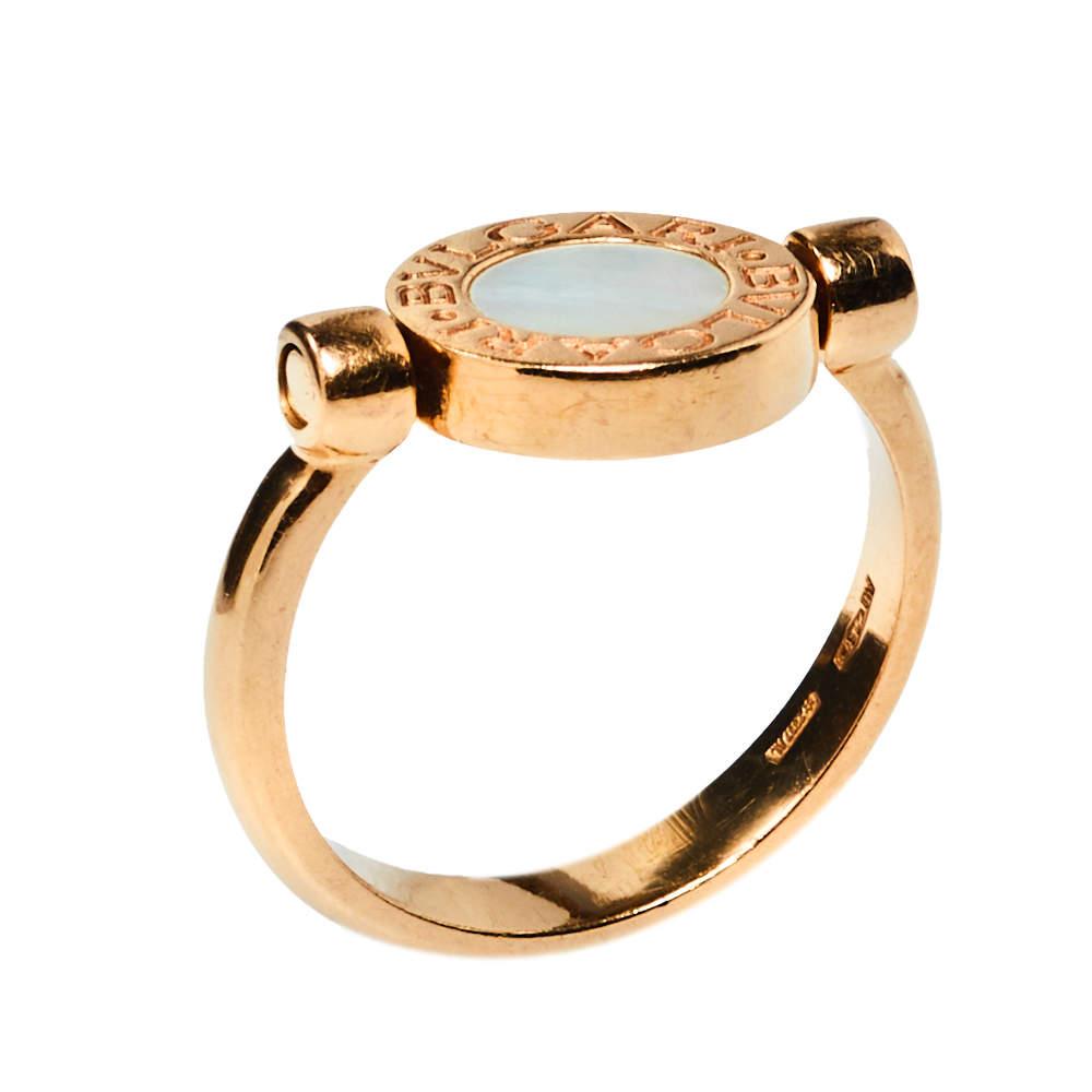 Bvlgari Bvlgari Mother of Pearl Onyx 18K Rose Gold Flip Ring Size 52