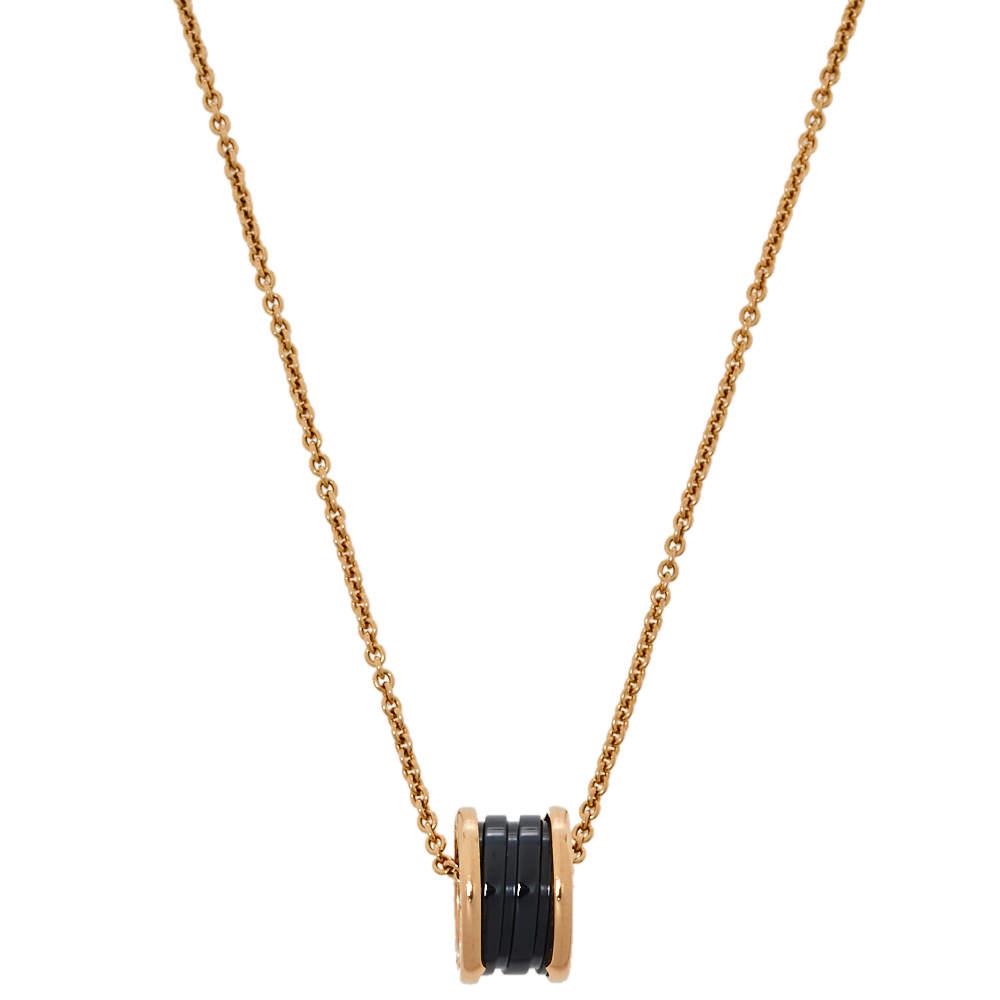 Bvlgari B.zero1 Black Ceramic 18K Rose Gold Pendant Necklace