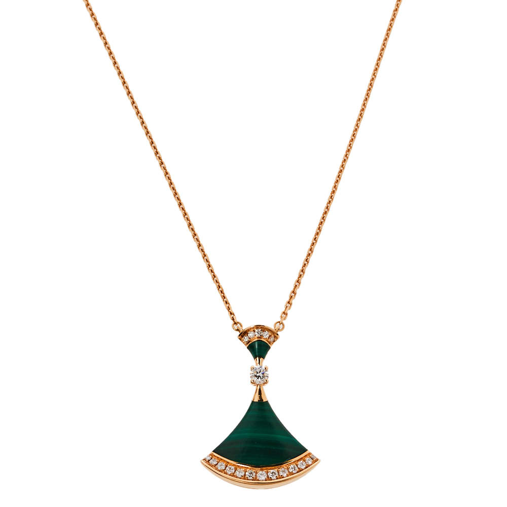 Bvlgari Divas' Dream Malachite Diamond 18K Rose Gold Pendant Necklace