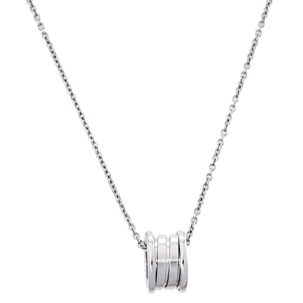 Bvlgari B.Zero1 18K White Gold Small Round Pendant Necklace