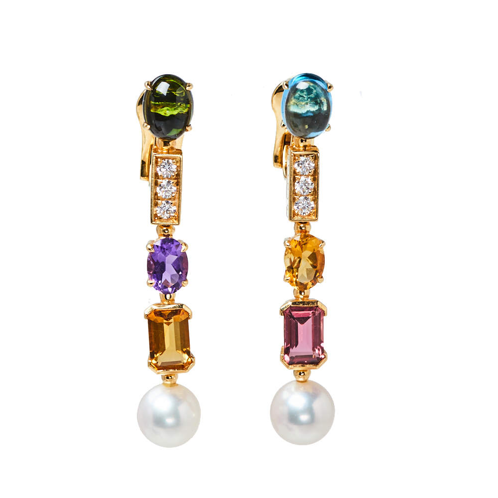 Bvlgari Coriandoli Allegra Diamond Multicolor Gemstones 18K Yellow Gold Earrings