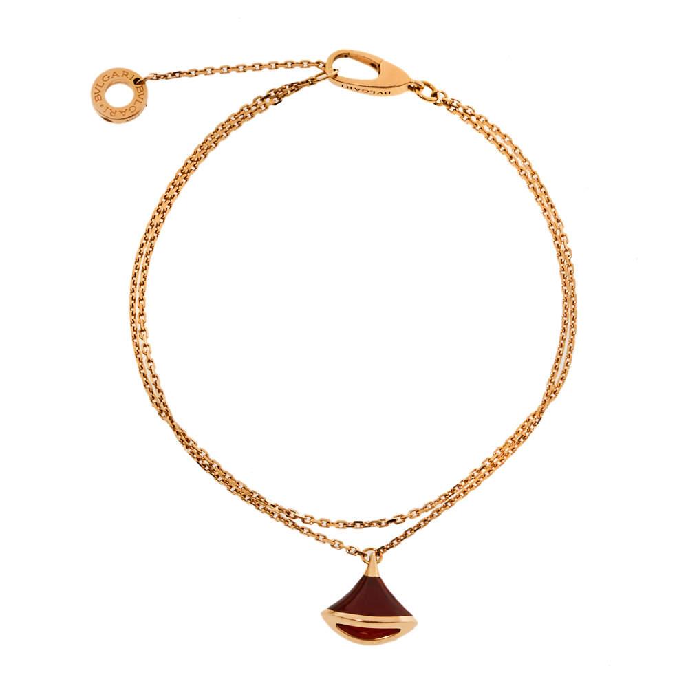 Bvlgari Divas' Dream Carnelian 18K Rose Gold Charm Bracelet SM