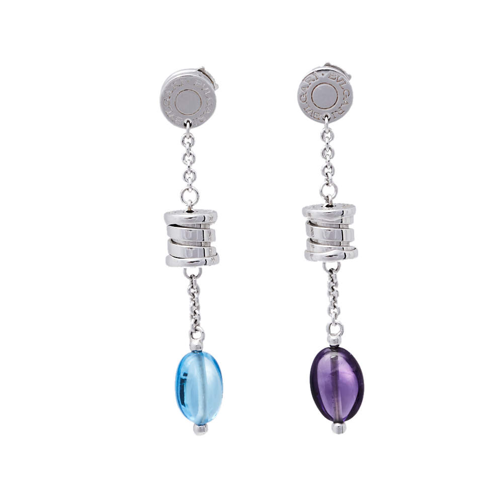 Bvlgari B.Zero1 Amethyst Topaz 18K White Gold Drop Earrings