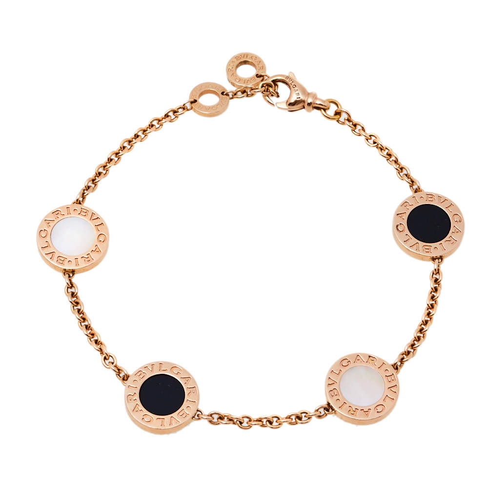 Bvlgari Onyx Mother of Pearl 18K Rose Gold Station Bracelet