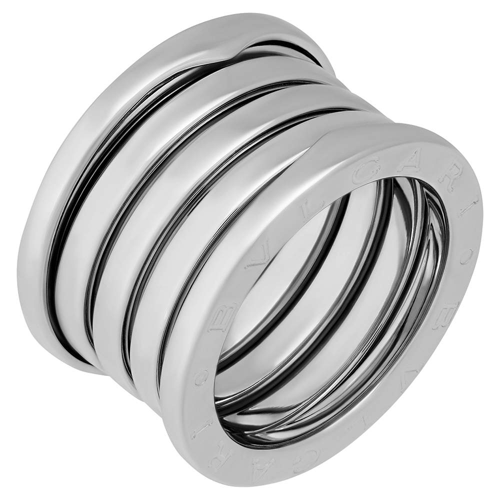 Bvlgari 18K White Gold B.Zero1 5 Band Ring Size EU 52.5