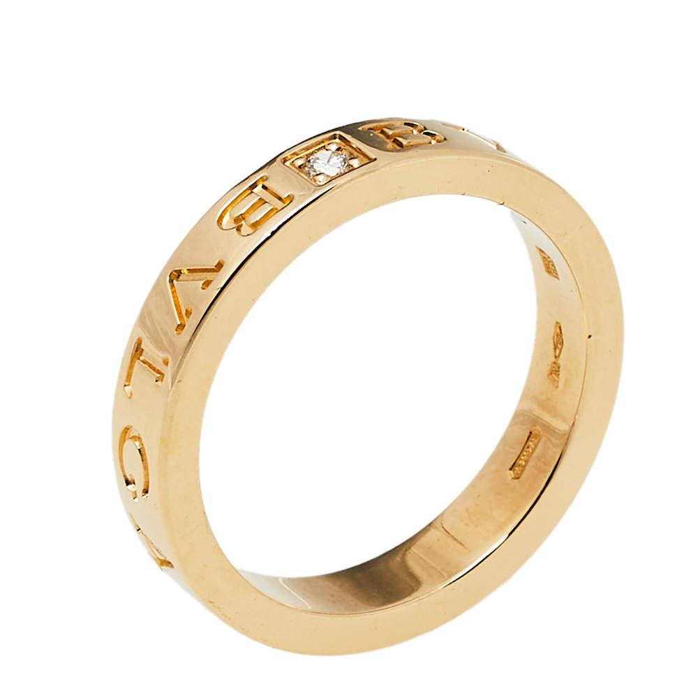 Bvlgari Bvlgari Diamond 18K Yellow Gold Ring Size 59