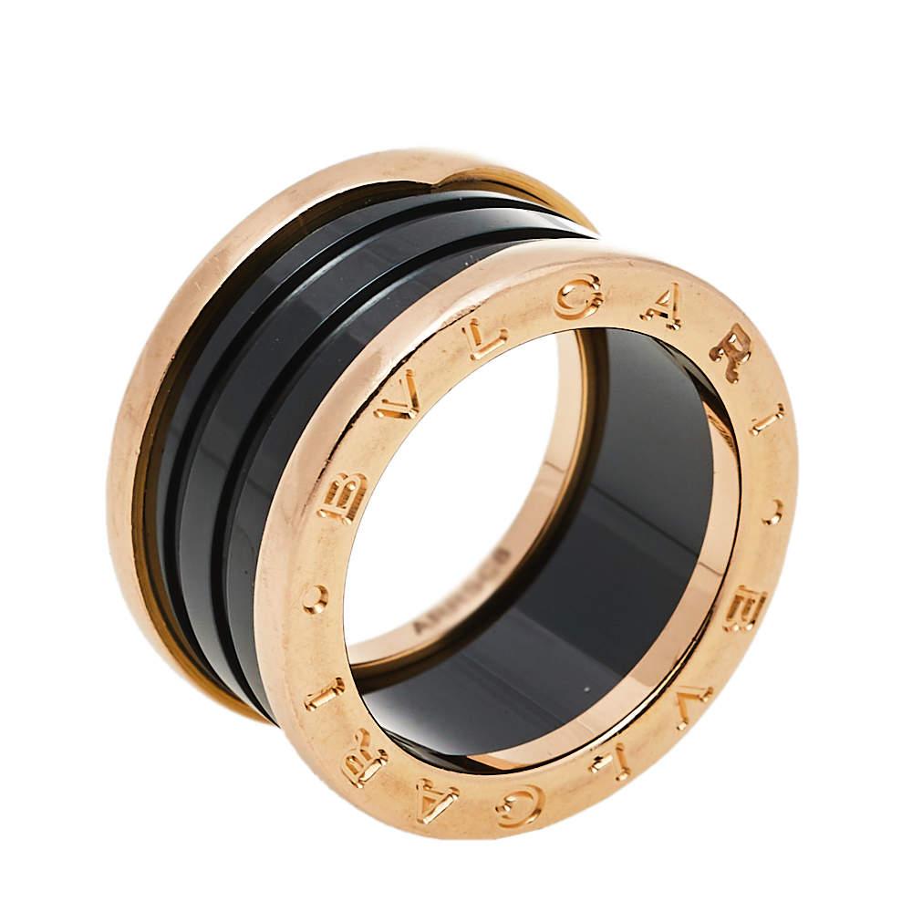 Bvlgari B.Zero1 Black Ceramic 18K Rose Gold 4-band Ring Size 53