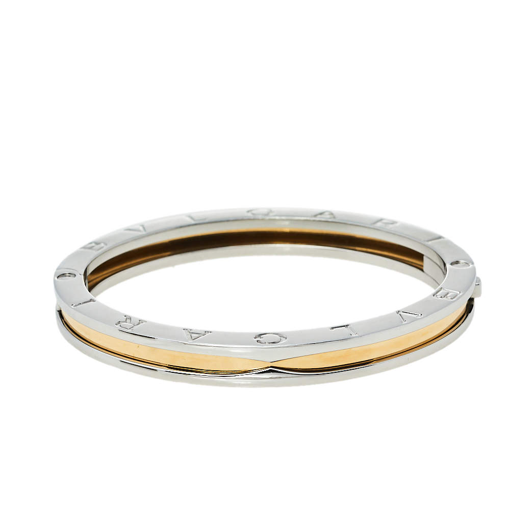 Bvlgari B.zero1 Stainless Steel & 18k Rose Gold Bangle