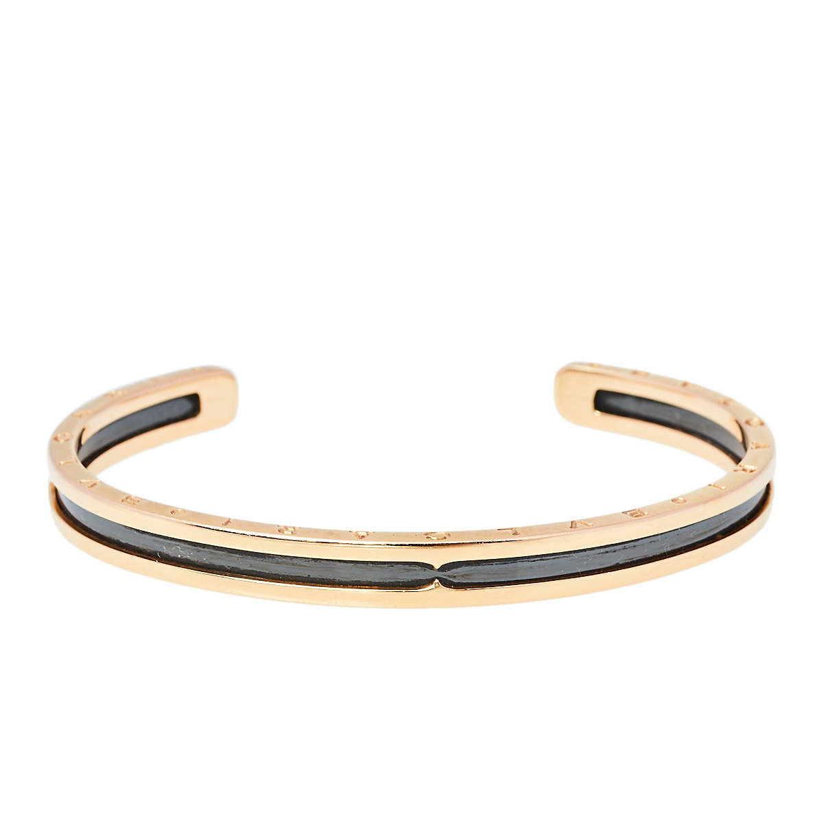 Bvlgari B.Zero1 18K Rose Gold Carbon Coated Steel Open Cuff Bracelet
