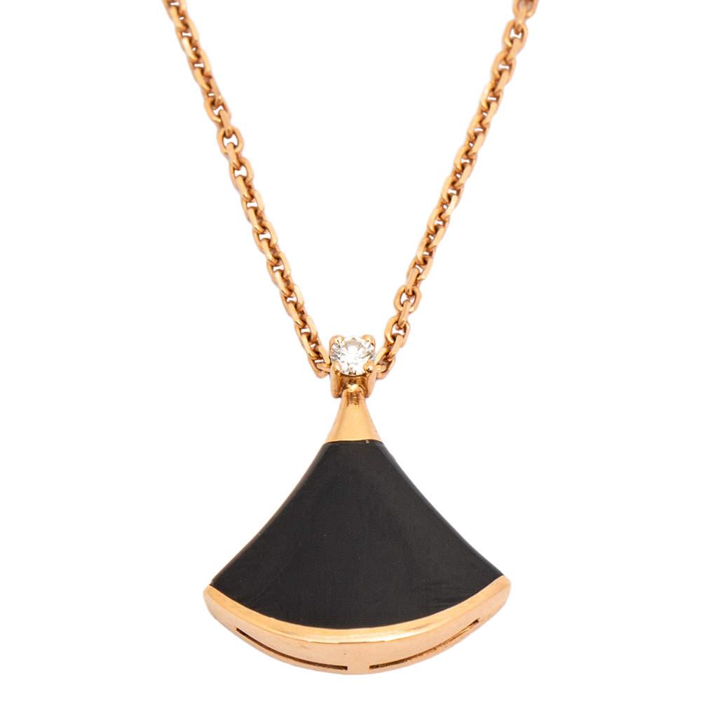 Bvlgari Divas' Dream Diamond Onyx 18K Rose Gold Pendant Necklace