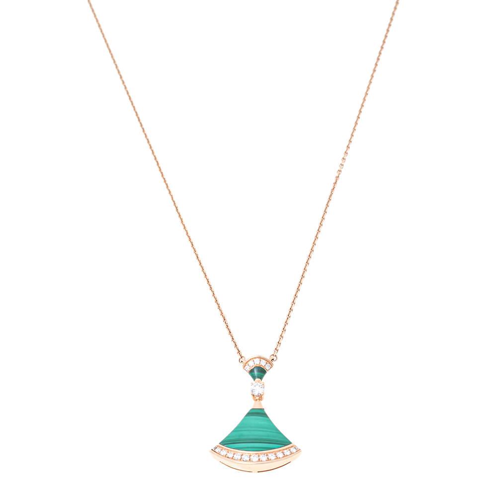 Bvlgari Divas' Dream Malachite Diamond 18K Rose Gold Pendant Necklace