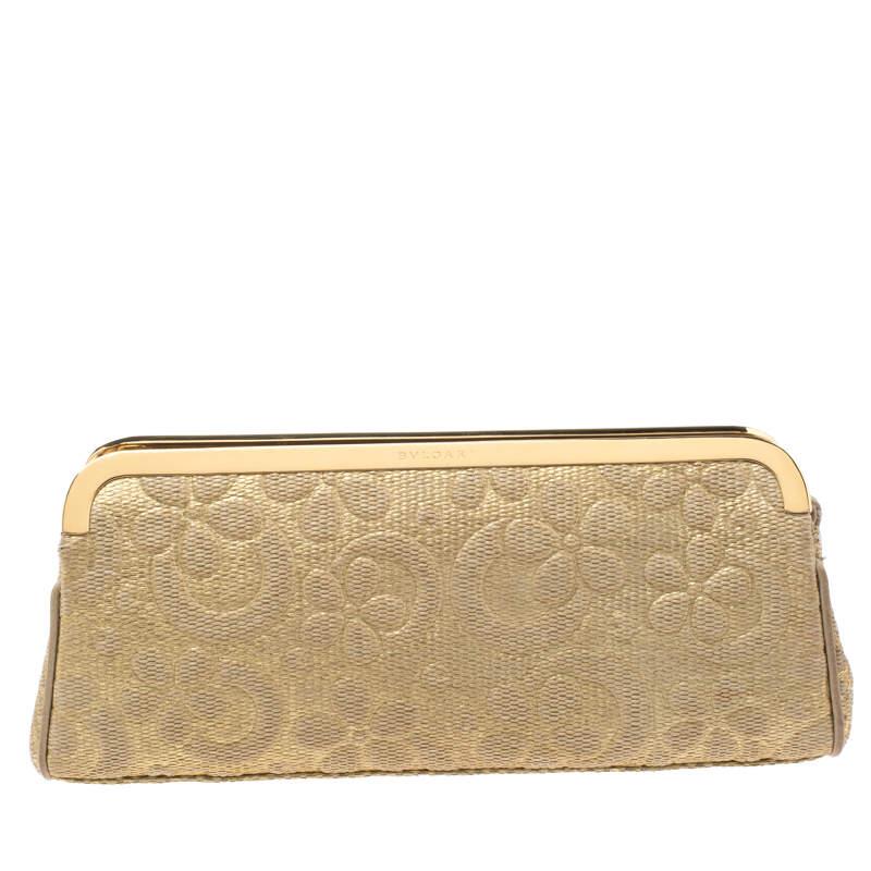 Bvlgari Metallic Gold Floral Embossed Straw Clutch