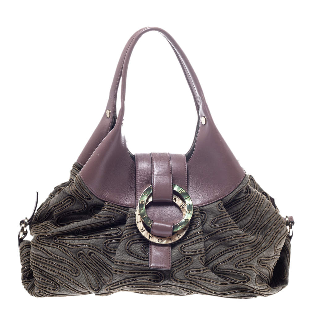 Bvlgari Pale Green/Purple Canvas and Leather Chandra Hobo