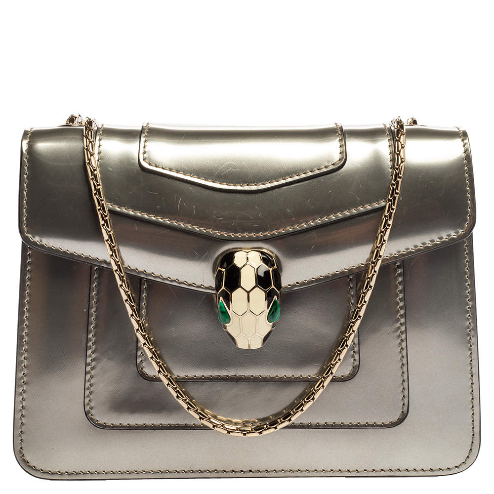 Bvlgari Grey Patent Leather Small Serpenti Forever Shoulder Bag