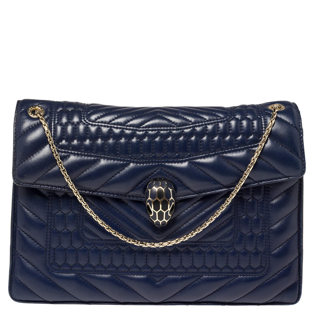 Bvlgari Blue Quilted Scaglie Leather Medium Serpenti Forever Shoulder Bag