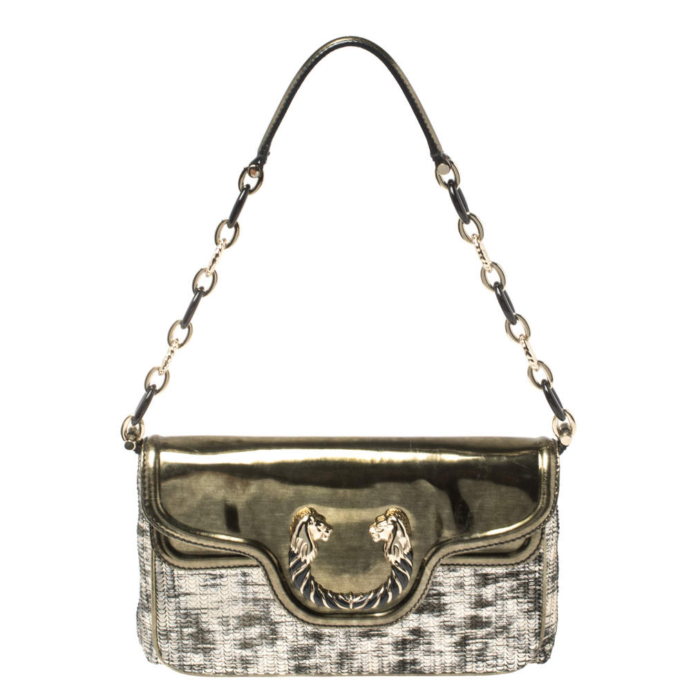Bvlgari Silver/Gold Patent and Leather Leoni Shoulder Bag