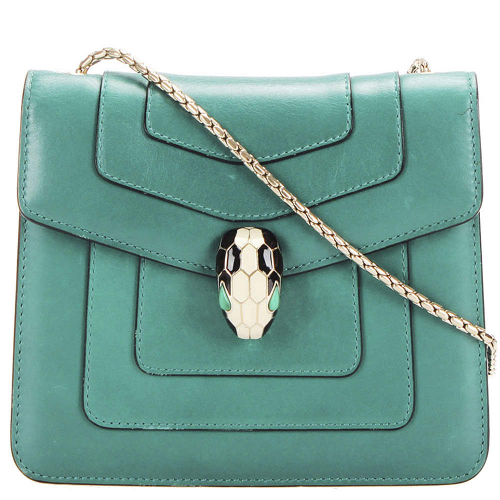 Bvlgari Green Leather Serpenti Forever Crossbody Bag