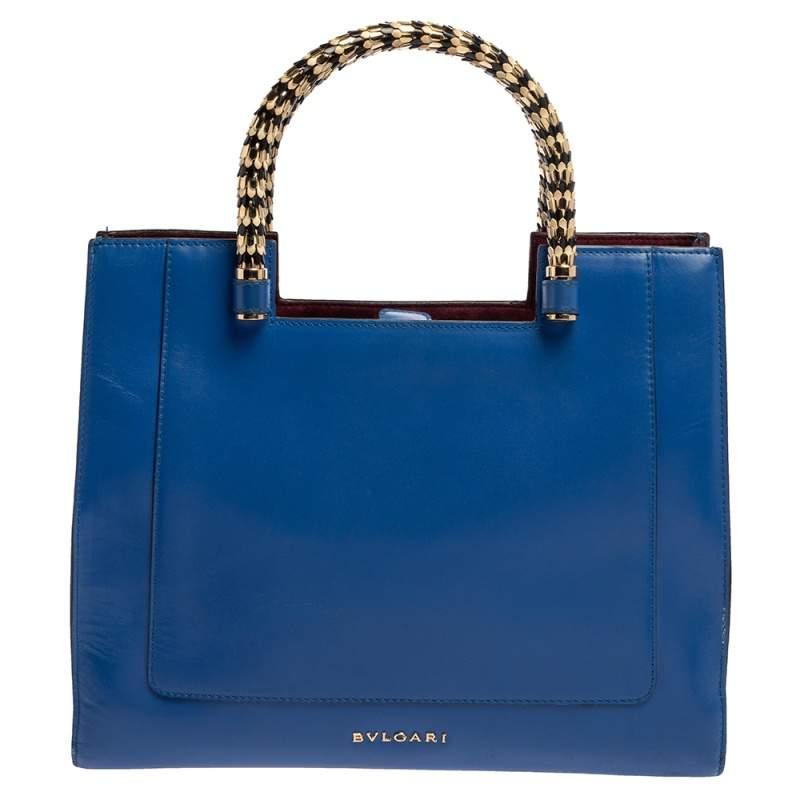 Bvlgari Blue/Burgundy Leather Serpenti Scaglie Tote