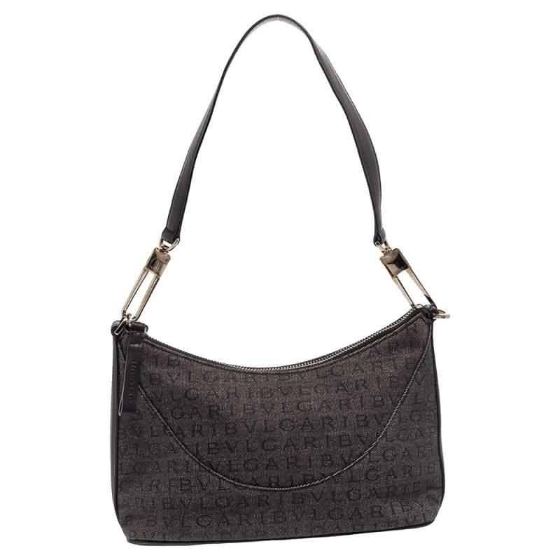 Bvlgari Grey/Black Monogram Canvas and Leather Pochette