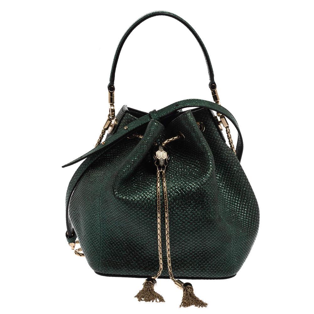 Bvlgari Metallic Green Karung Serpenti Forever Bucket Bag