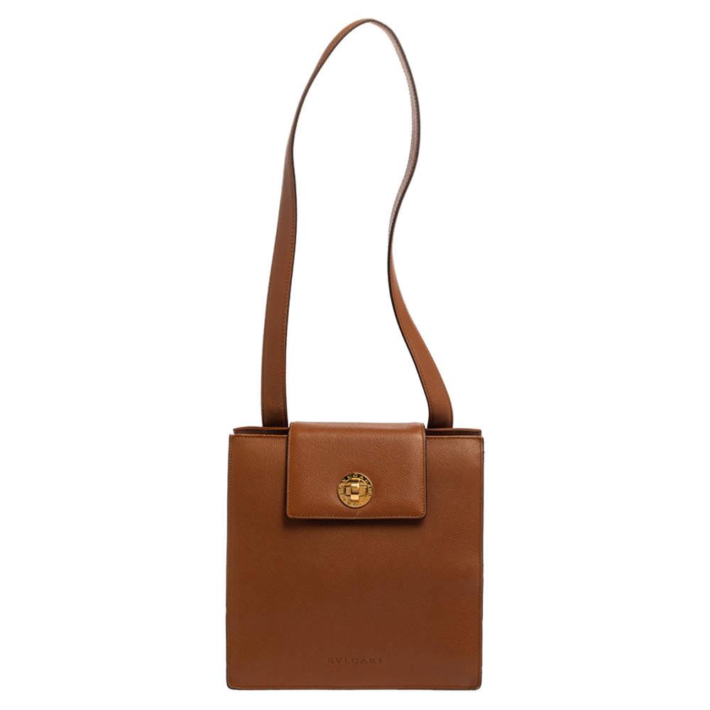 Bvlgari Brown Leather 3 Gussets Shoulder Bag